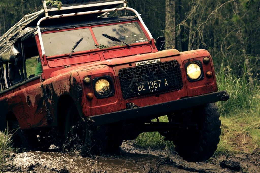 Land rover stuck in the mud