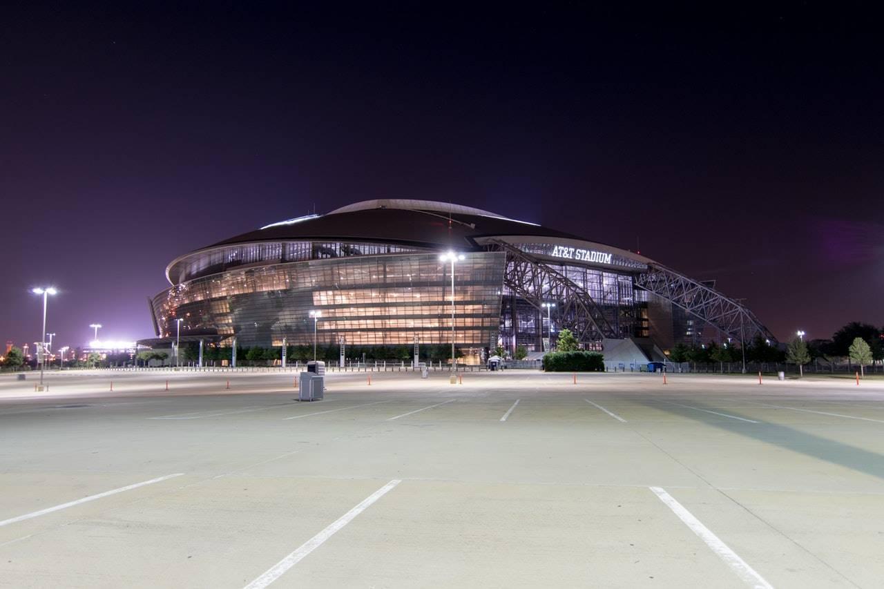 Stadium parking lot at night