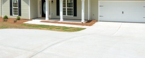 A clean concrete driveway