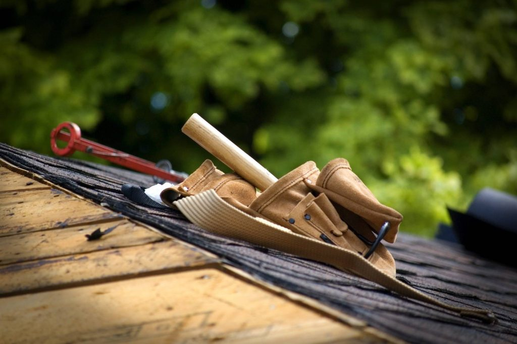 Tool belt and tools on the roof
