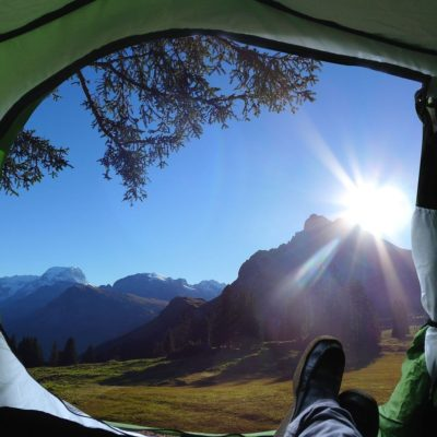 Looking out the entrance of the tent in the morning