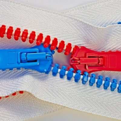 Red and blue zippers