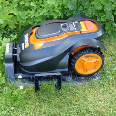 Robot lawn mower docked