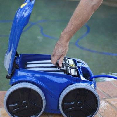 new robotic pool cleaner ready to clean swimming pool