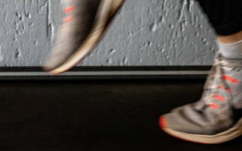 Shoes running on a treadmill