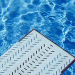 Blue water under diving board