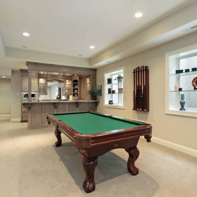 Pool and kitchen in basement